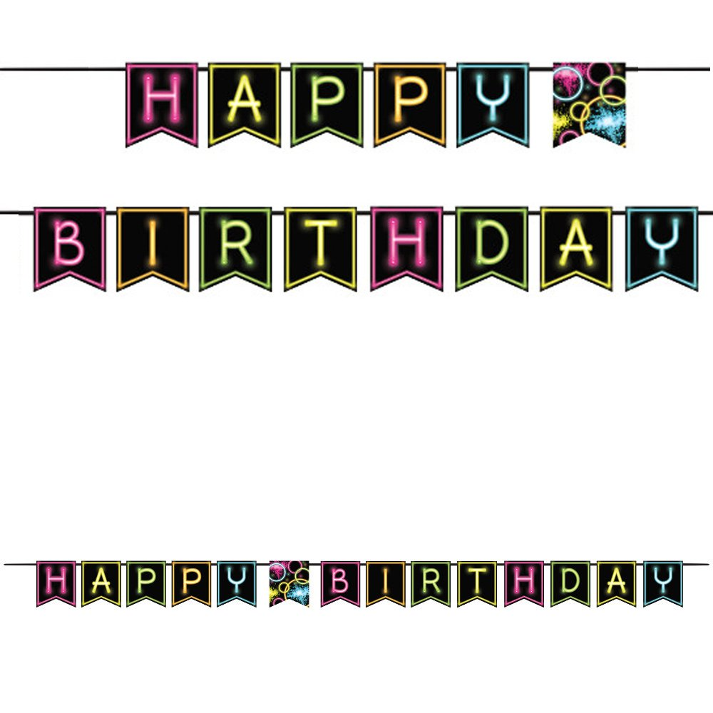 Shaped Ribbon Banner 'Happy Birthday', One Size.