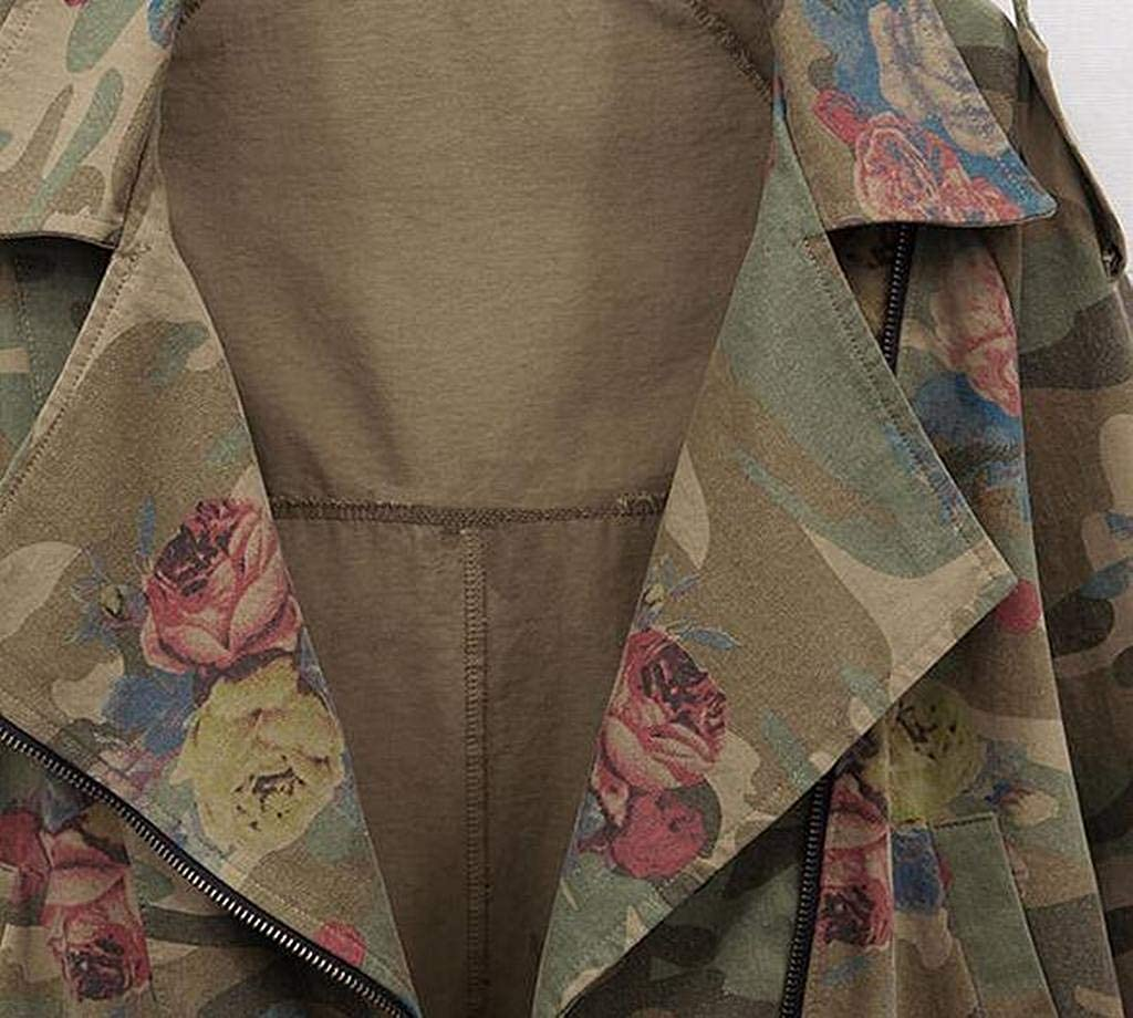 Fubotevic Women Plus Size Flower Print Zip Front Casual Loose Jacket Coat Outerwear