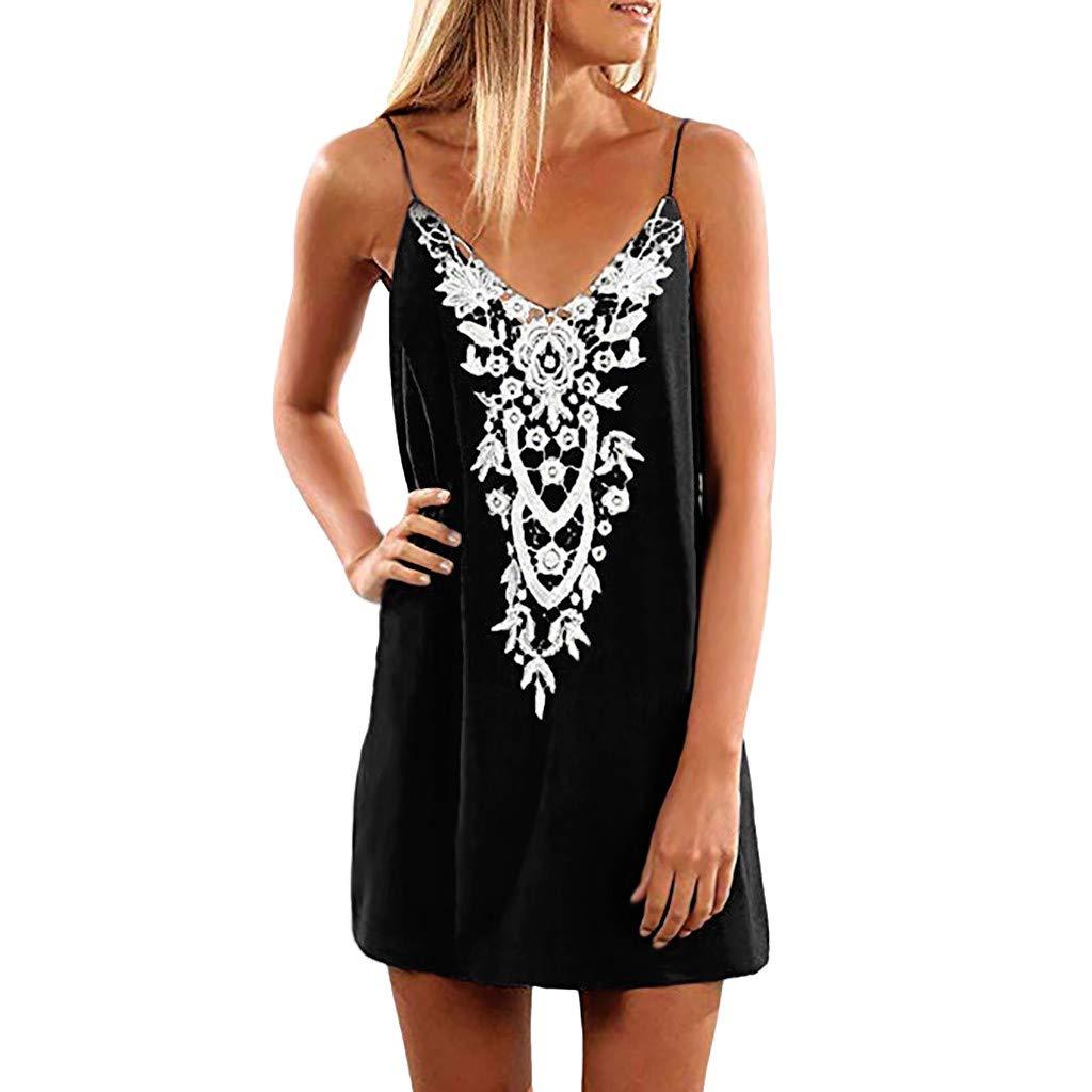 Women Beach Sling Boho Dress, Dianli Lace Sleeveless Casual Mini Beachwear Sundress Dress, Ladies Solid Color V-neck Dress