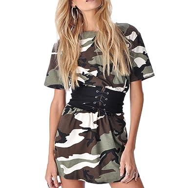 MIOIM Damen T-shirt kleid Kurz Camouflage Sommerkleider Kurzarm mit ...