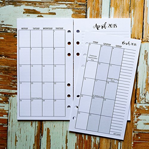 2018 April to December Monthly Planner Inserts | Dated Calendar Pages | Six Ring Personal Size | Monday Start
