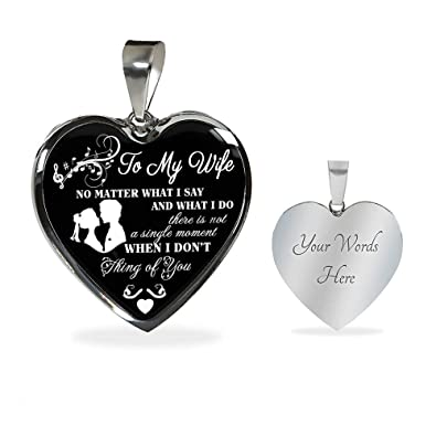 Custom Engraving Necklace To My Wife Girlfriend Heart Pendant For Woman Birthday Romantic Quote
