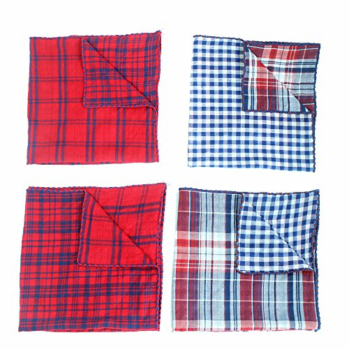Invlab-Dog-Bandanas-4-Pack-Washable-Triangle-Bibs-Scarfs-Reversible-Plaid-printing-Kerchief-for-Dogs-and-Cats