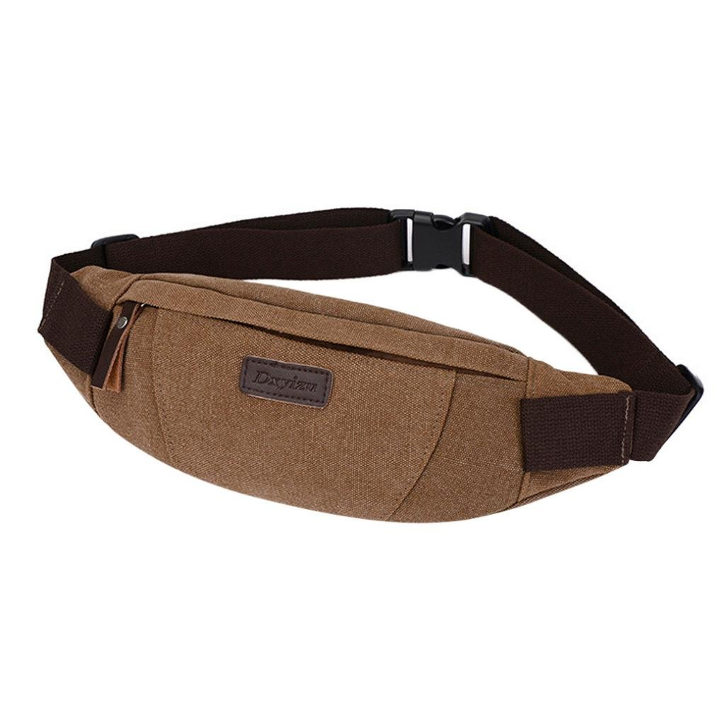Inkach Mens Fanny Pack - Fashion Canvas Shoulder Chest Bag Belly Waist Hip Packs Bumbag (Black)