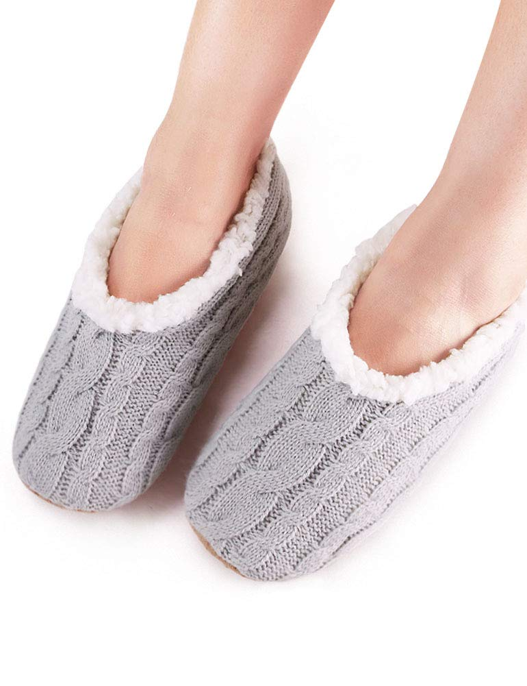VERO MONTE 2 Pairs Womens Thick & Warm Slipper Socks (GREY + PURPLE, 9-10)42213 by VERO MONTE