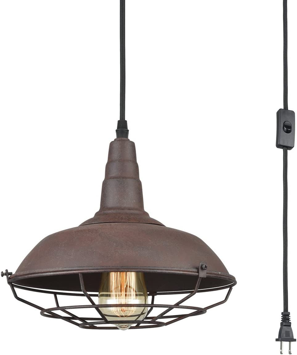 Dazhuan Nautical Barn Ceiling Light Metal Wire Caged Pendant Light Fixture Plug-in Farmhouse Hanging Lamp with Toggle Switch, Rust Finish