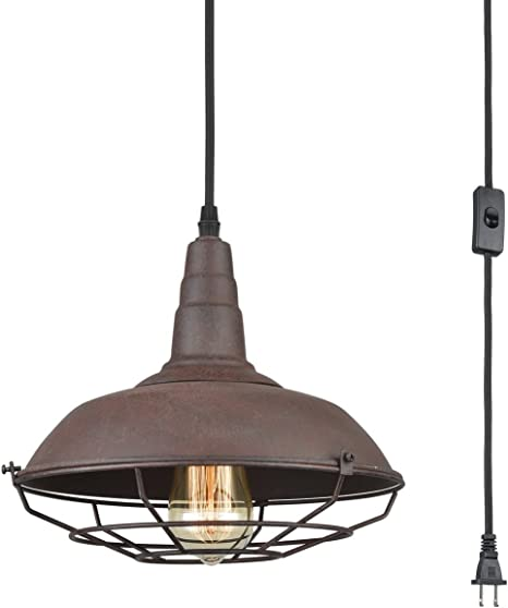 Amazon Com Dazhuan Nautical Barn Ceiling Light Metal Wire Caged Pendant Light Fixture Plug In Farmhouse Hanging Lamp With Toggle Switch Rust Finish Home Kitchen