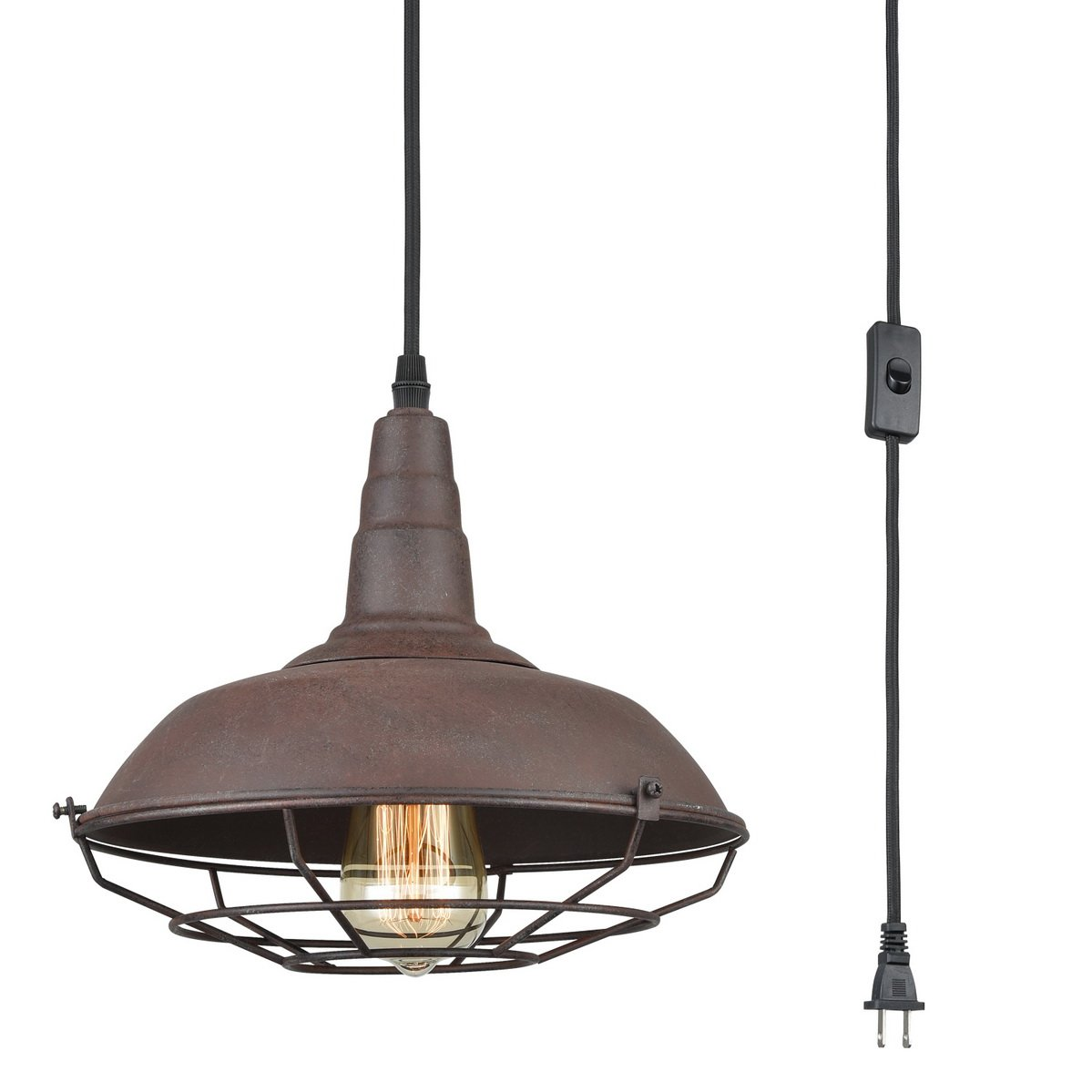 Dazhuan Nautical Barn Ceiling Light Metal Wire Caged Pendant Light Fixture Plug-In Farmhouse Hanging Lamp with Toggle Switch, Rust Finish by Dazhuan