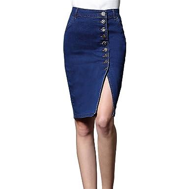 Profitd Mujer Faldas Mujeres Bodycon Jeans Falda Denim Mujeres ...