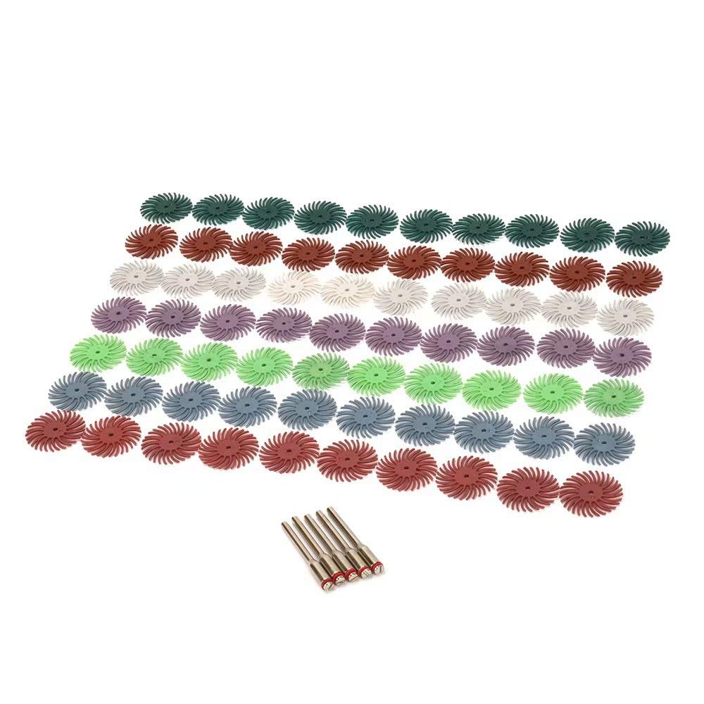 10Pcs 80# Radial Bristle Disc Brush with 1/8' Shank Abrasive Bristle Disc Set for Wood Jewelry Mold Polishing SYPARTS
