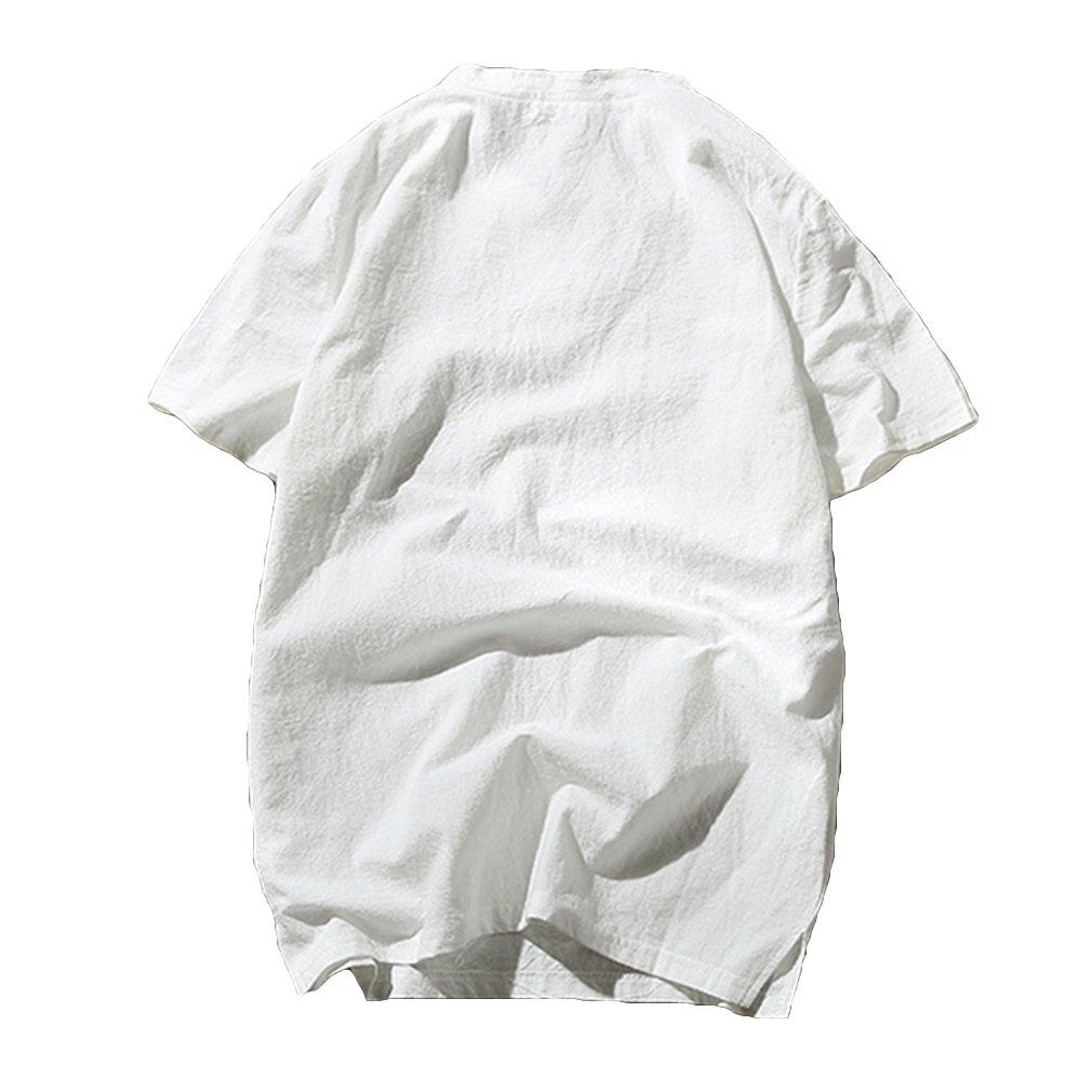 Hibote Chemise Homme Lin Respirant Loose Blouse Manche Courte Top D/écontract/ée Plaine sans Col Hauts Chemise daffaires M-5XL