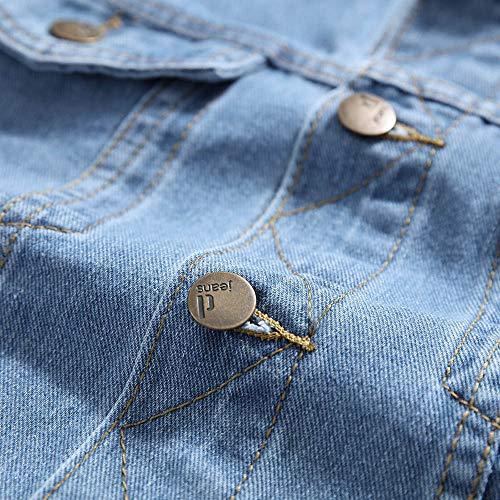Casual Top Maglietta Blu Unita Giacche Camicia Feixiang Giubbotto Con Pulsante Cappotti Stampa Di Giacca Risvolto Uomo Tinta Capispalla Jeans Denim Uomo Cardigan In 4q0w4R