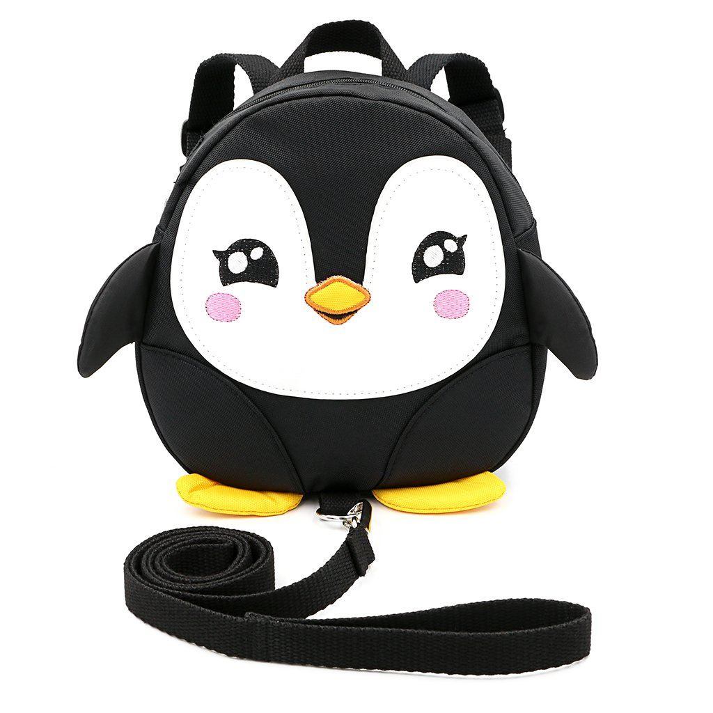 Hipiwe Baby Toddler Walking Safety Backpack Little Kid Boys Girls Anti-lost Travel Bag Harness Reins Cute Cartoon Penguin Mini Backpacks with Safety Leash for Baby 1-3 Years Old Black