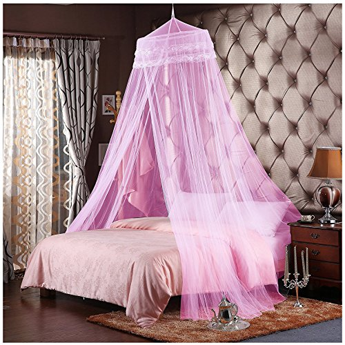 """Bed Canopy Mosquito Net, Netting Bedding for Full Queen King Baby Bed-Keeping All the Flying Bugs/Mosquitoes/Insects Away (40""""-71"""", Pink)"""