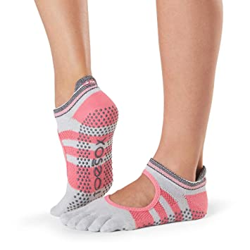 Toesox Grip Pilates Barre Socks-Non-Slip Bellarina Full Toe ...