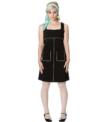 Dancing Days 60s Style Studio 64 Short Mini Jersey Dress Black Red