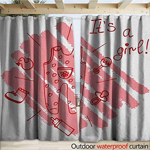 warmfamily Gender Reveal Porch Curtains Little Baby Girl on The Pastel Backdrop Toys Mom Pacifier Greeting Print W120 x L108 Coral and Red by  (Image #3)