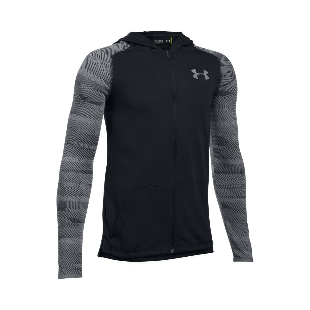 Under Armour Boys' Threadborne Full Zip Hoodie,Black /Steel, Youth X-Small
