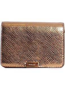 630047564e4e Michael Kors Jade Medium Gusset Snake Skin Embossed Leather Clutch  Crossbody Handbag in Gold