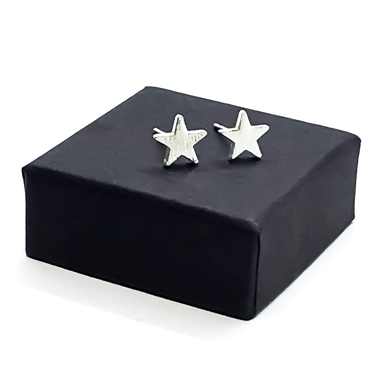 Silver Plated Star Stud Earrings Handmade