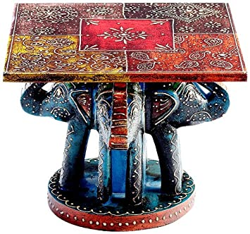 Aapno Rajasthan Hand Painted Wooden Side Table With Elephants