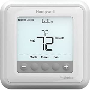 Honeywell TH6210U2001/U T6 Pro Programmable Thermostat, 2 Heat / 1 Cool Heat Pump Or 1 Heat / 1 Cool Conventional
