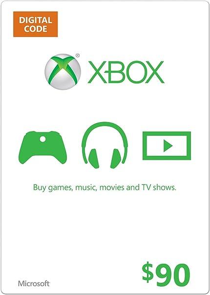 Amazon.com: Xbox Live $90 Gift Card - Xbox 360 Digital Code ...