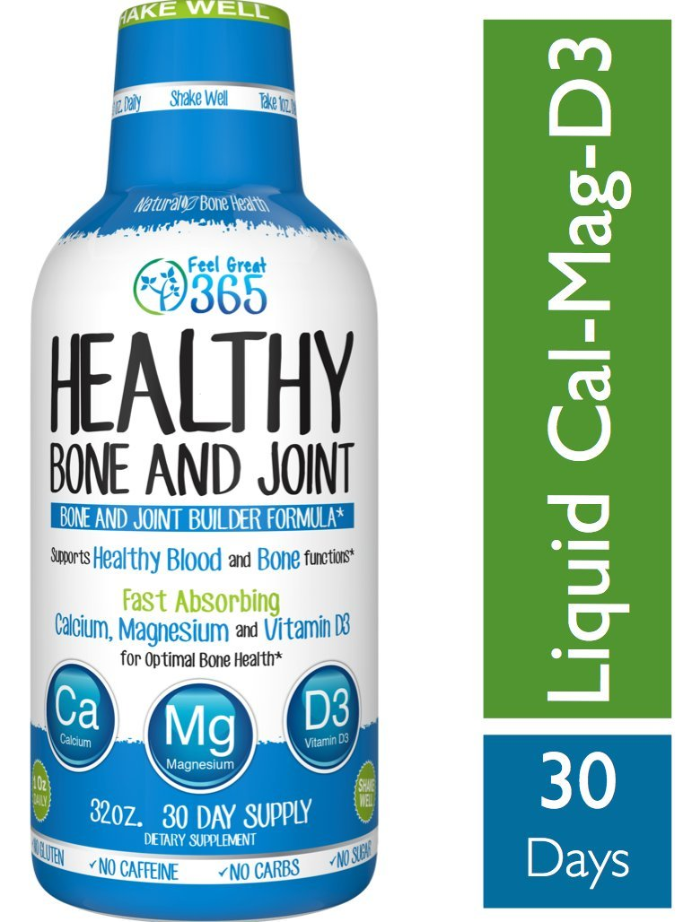 Liquid Calcium Magnesium with Vitamin D3 by Feel Great 365. Maximum Absorption Formula. Highest Potency for Support for Bone & Joints. Promotes a Good Night Sleep. Non-GMO. Sugar-Free. Gluten-Free.