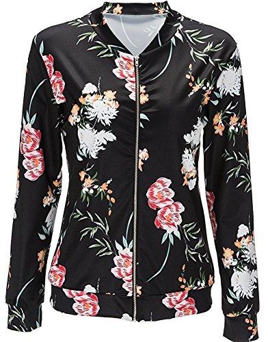 Minetom Jacket Chaqueta Outwear Coat Moda Printed Bomber Cremallera Mujer Stand Larga Negro Floral de Casual Collar Manga rSqOHZr