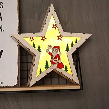 Amazoncom Christmas Star Ornaments Wooden Led Light Up Star Xmas