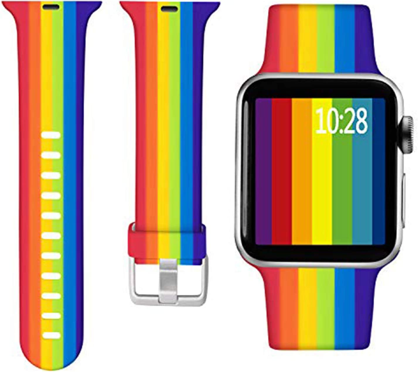 Laffav Floal Bands Compatible with Apple Watch Band 40mm 38mm iWatch SE & Series 6 & Series 5 4 3 2 1 for Women Men, Rainbow, S/M