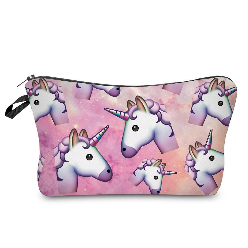 Makeup Toiletry Cosmetic Travel Carry Bag Zippered Luggage Pouch Multifunction Make-up Bag Pencil Holder Organizer for Men and Women Girls Kids (Cute Many Unicorns)