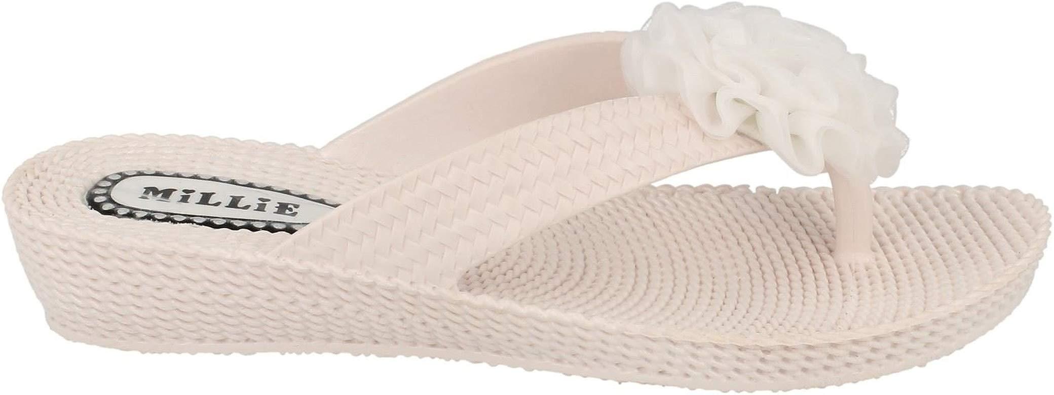 Ladies L402 beige synthetic flip flop sandal by Millie Retail Price £5.99
