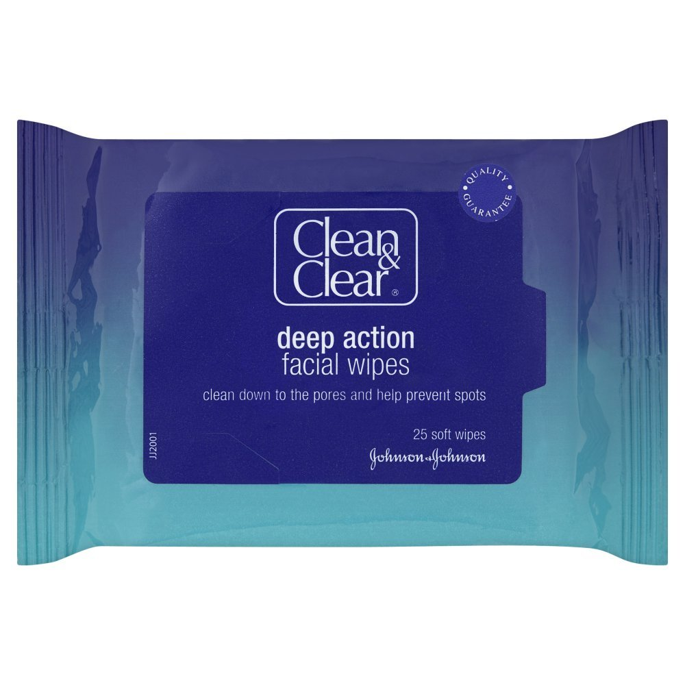 Clean and Clear Deep Cleansing Facial Wipes - 25-Pack Johnson & Johnson 2716587