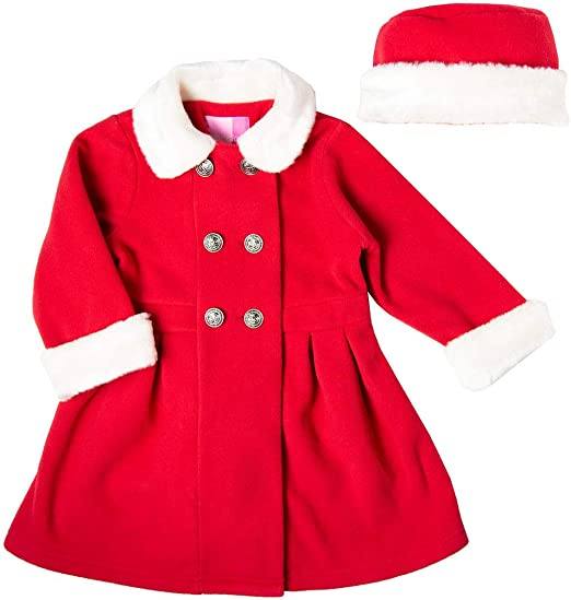 Good Lad Toddler and 4//6X Girls Red Double Breasted Fleece Coat with Fur Trim and Matching Hat