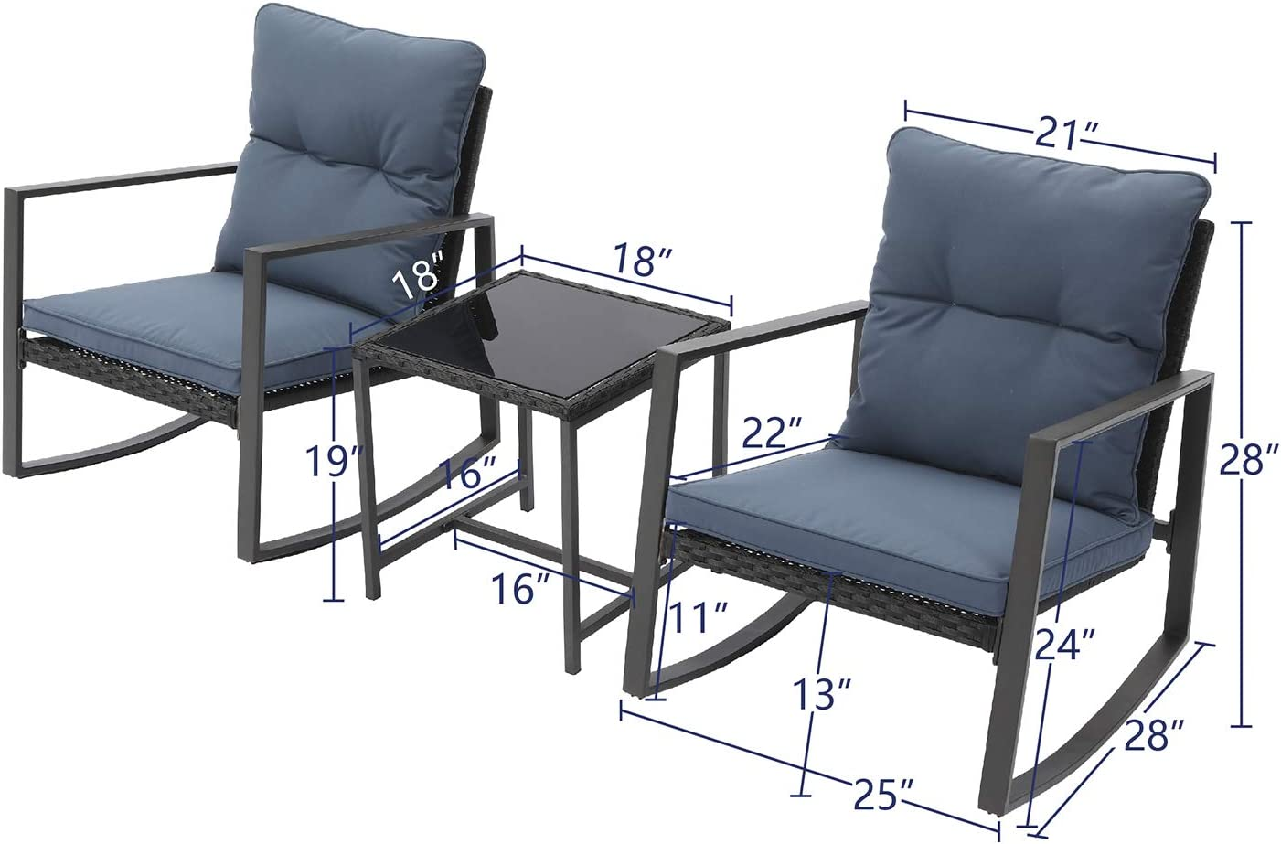 Tempered Glass Table Elegant Patio Bistro Chair for Backyard Outdoor Furniture 3-Piece Rocking Chair Set w Blue Cushion