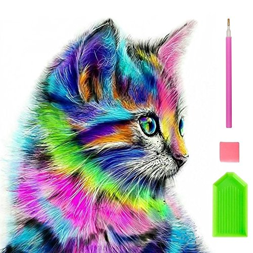 Price comparison product image DIY 5D Diamond Painting Kits for Kids & Adult Colorful Cat Round Rhinestone Embroidery Cross Stitch Arts Craft Canvas Wall Decor, 12X12 inch
