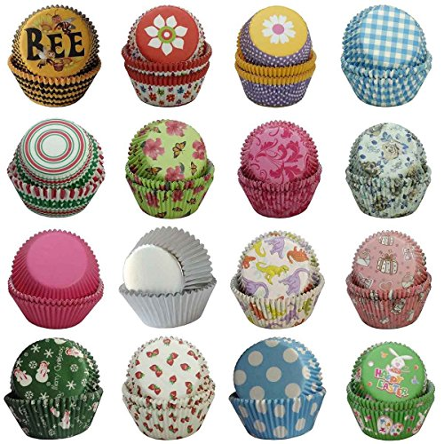 SophieBella 400 Assorted 16 Style Muffin-Liners Cupcake-Liners for Christmas Summer
