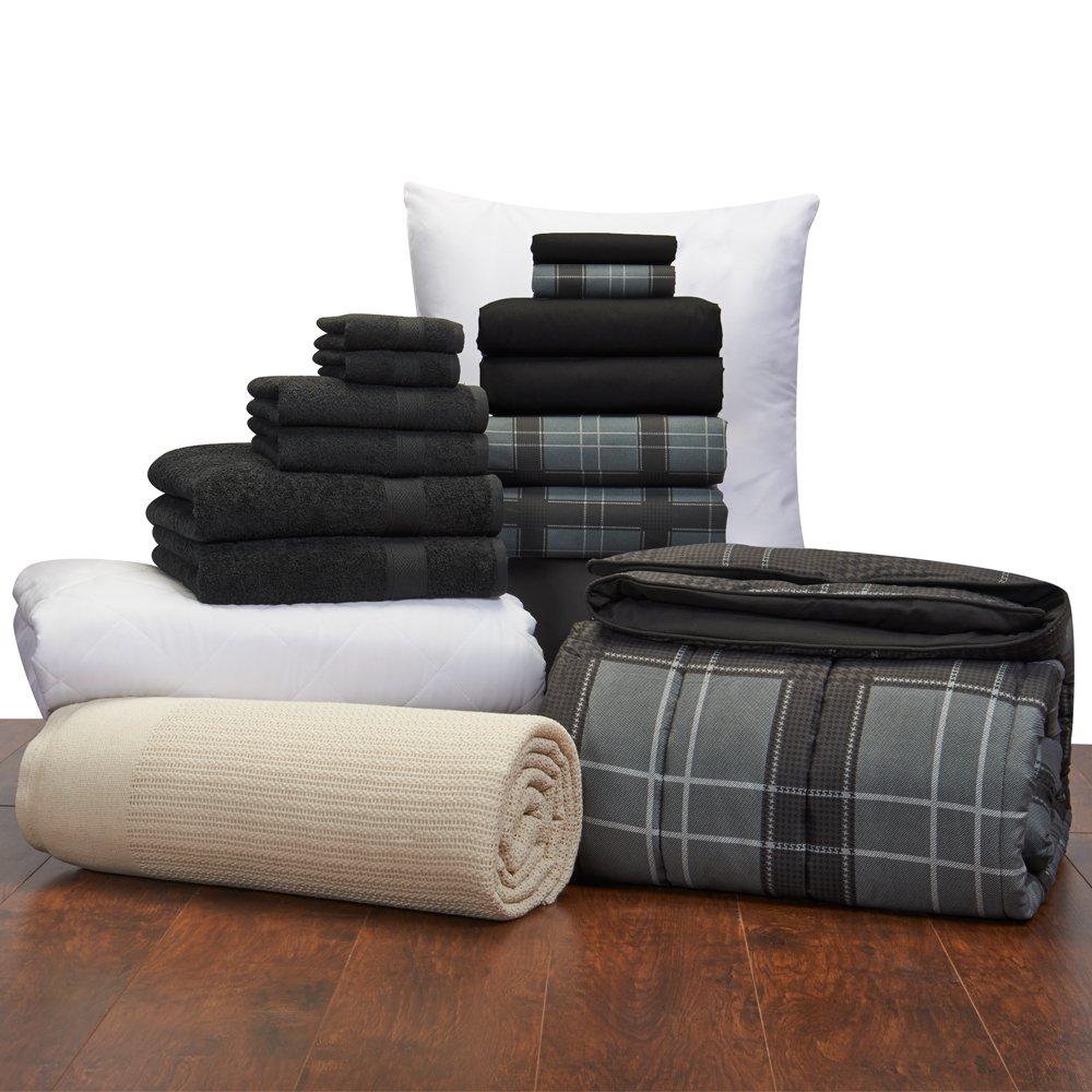 16 Piece Guys Student Starter Pak – Twin XL College Dorm Bedding and Bath Set (Color: Black Hampton Plaid)