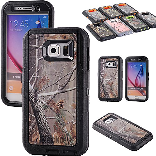 Kecko(TM) Heavy Duty Defender 3-layer Tough Rubber Shockproof Weather Water Resistant Natural Tree Camo Rugged Silicon Impact Built-in Screen Protector Hybrid Case w/ Camouflage Wood Design for Samsung Galaxy S6 (AT&T, Verizon, T-Mobile, Sprint) Only--Branch/Leaves on the Core for Girls & Boys (Tree Black)