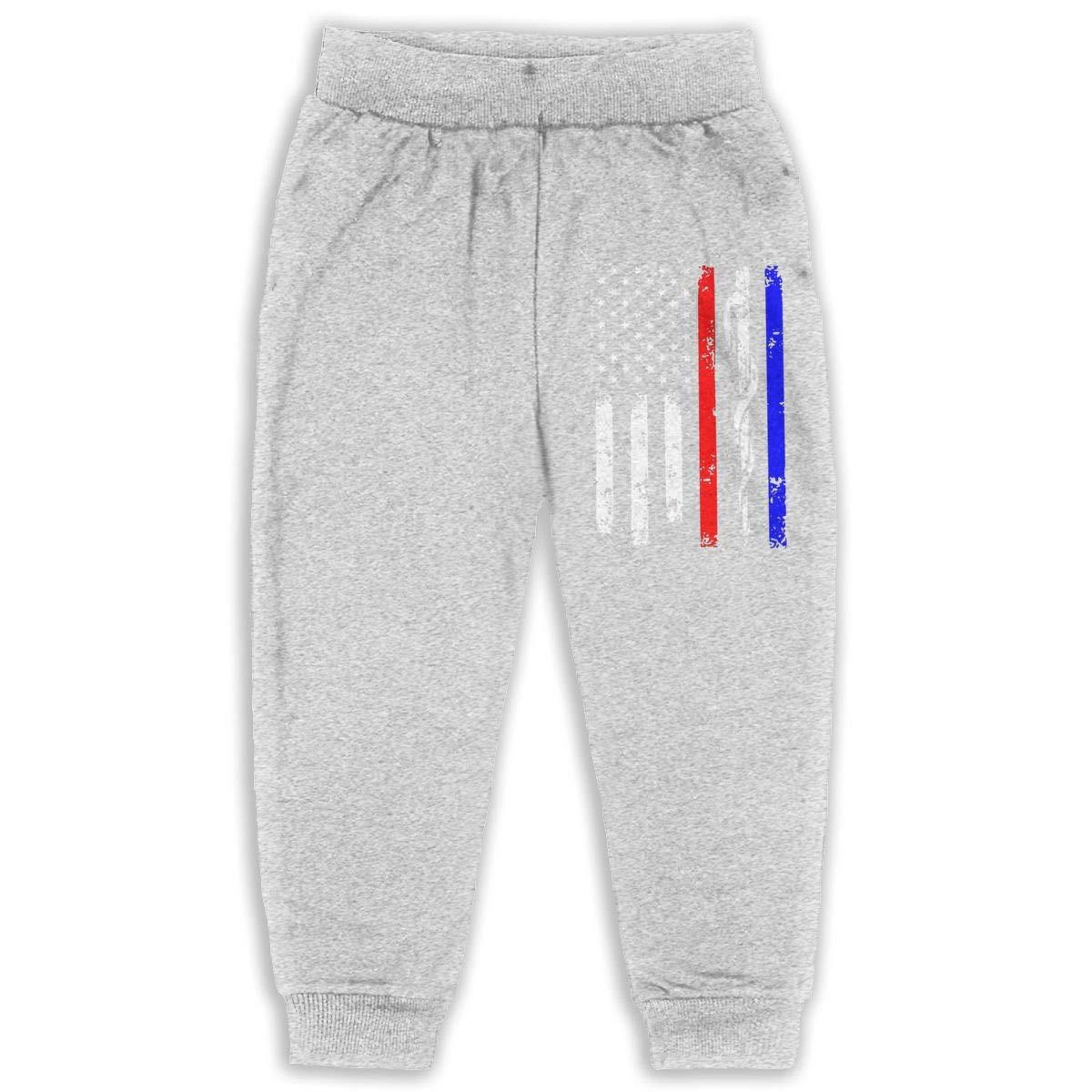 Laoyaotequ Police /& Firefighter /& EMT Flag Kids Cotton Sweatpants,Jogger Long Jersey Sweatpants