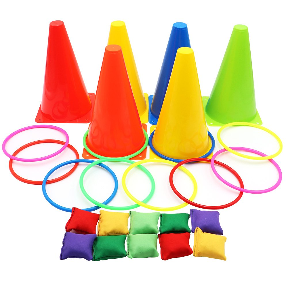 Aytai 3 in 1 Party Games Set - Soft Traffic Cone Bean Bags Ring Toss Games for Indoor Outdoor Family Game Birthday Party Supplies