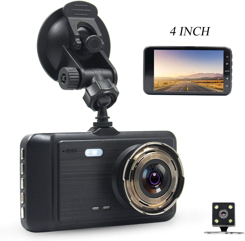 DareTang 4 Inch LCD Screen Dual Lens Front and Rear Car Dash Cam FHD 1080P Dashboard Camera with G-Sensor Parking Monitor WDR Loop Recording Night Vision Driving DVR Recorder Black