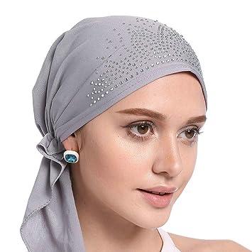 Tukistore Mujeres Musulman Stretch Sombrero del pañuelo Gorro Chemo Beanie Indian Turban Sombrero Gorros con decoración de Diamantes de imitación: ...