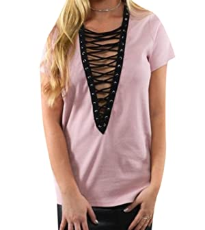 Aprilley Women's V Neck Short-Sleeve Bandage Tees Top
