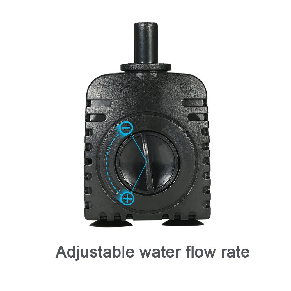 AC220-240V 1500L//H 25W Pompa per Acquario Fontane Acqua di Stagno Giardini e Sistemi Idroponici con 2 Ugelli Hylotele Mini Pompa Acqua Sommergibile