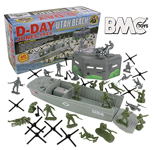 BMC WW2 D-Day Plastic Army Men - Utah Beach 40pc Soldier Figures Playset (Best Tank In The World)