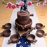 lazy teapot - THJ Lush Tea Set Ceramic Lazy Stone Mill Semi-Automatic Zisha Teapot Set Kung Fu Creative Tea Home,C