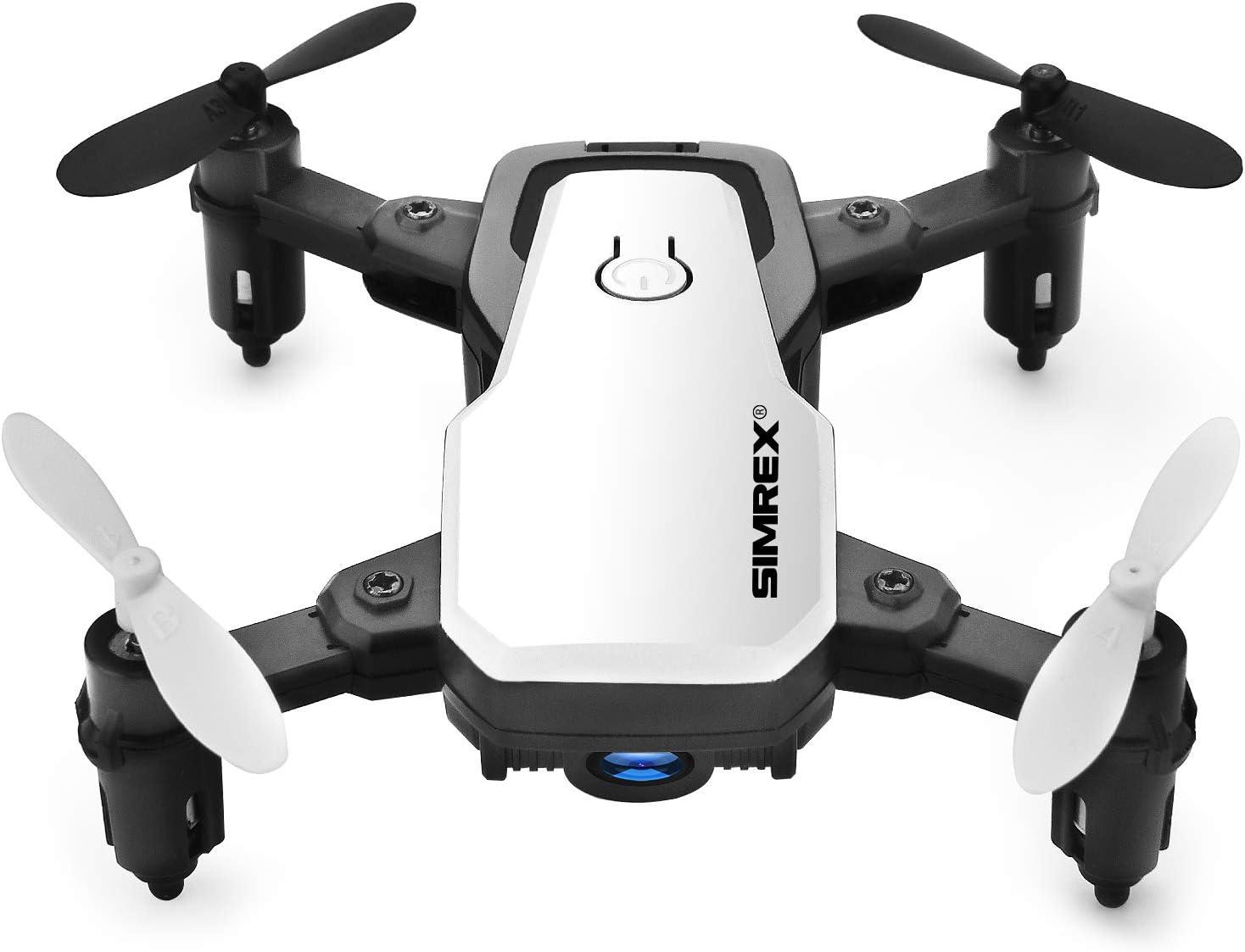 SIMREX X300C Mini Drone con cámara WiFi HD FPV Plegable RC Quadcopter RTF 4CH 2.4GHz Control Remoto sin Cabeza Control de altitud Super Easy Fly para Entrenamiento Blanco