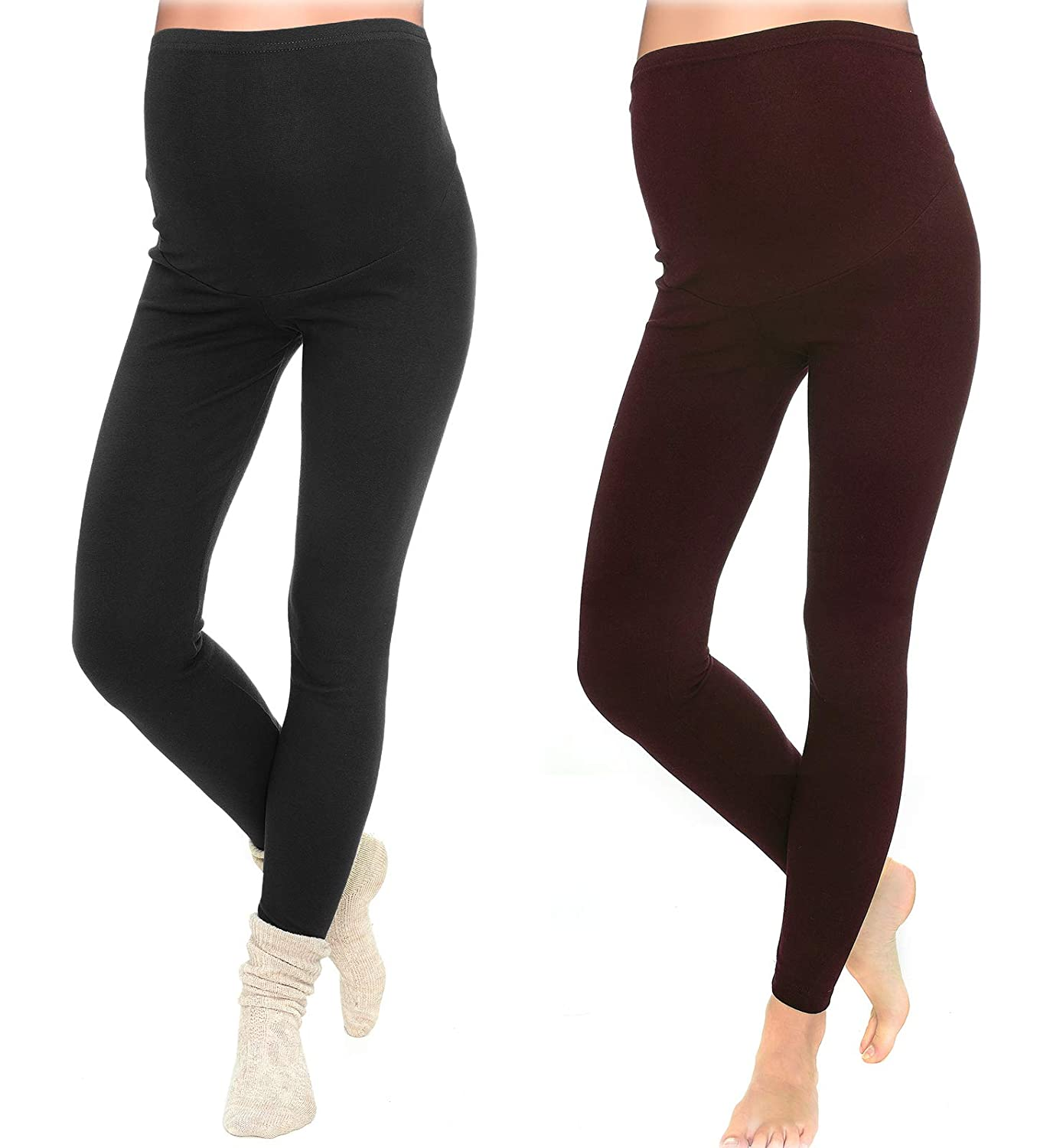 2 Set Lange warme Umstandsleggings Leggings f/ür den Winter 3006//2 MijaCulture